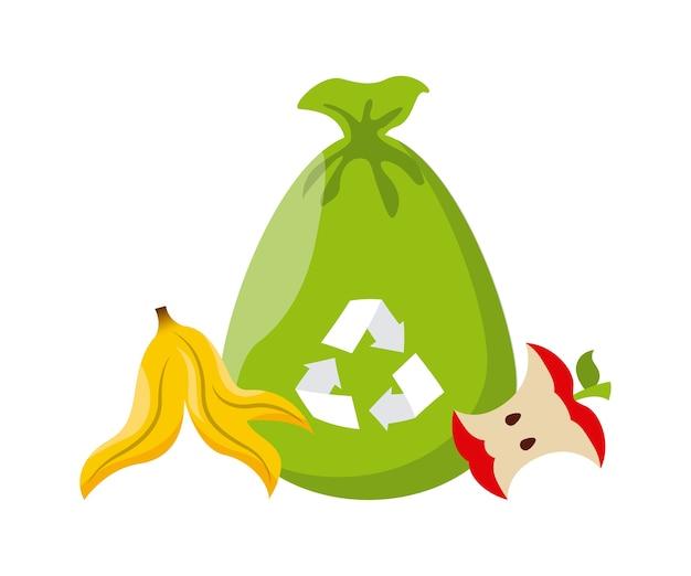 リサイクルサインとバナナピールとリンゴのアイコン付きゴミ袋