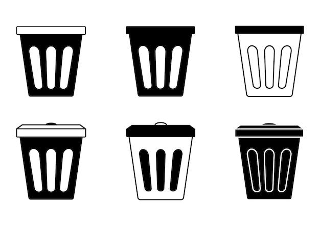 쓰레기통, 플라스틱. 쓰레기 수거 바구니. 폐기물 용기. 사무실이나 화장실 문양의 쓰레기통. 쓰레기 바구니의 간단한 검은 색 아이콘입니다. 벡터 일러스트 레이 션 절연