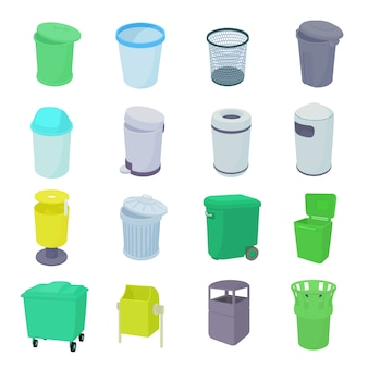 Trash bin set icons in isometric 3d style isolated