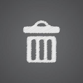 어두운 배경에 고립 된 쓰레기통 스케치 로고 낙서 아이콘