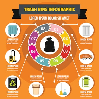 Trash bins infographic concept, flat style