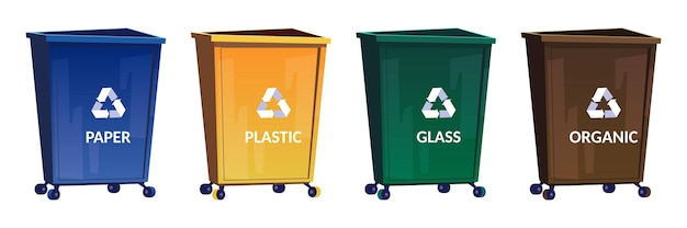 Trash bins for separate and recycle garbage
