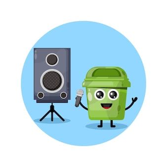 쓰레기통 노래방 귀여운 캐릭터 로고