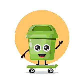 쓰레기통 스케이트보드 귀여운 캐릭터 로고