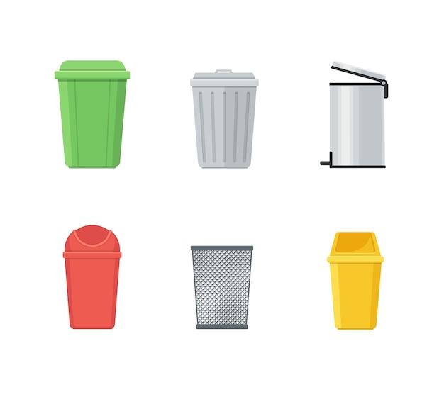 Мусорное ведро и набор мусорных баков