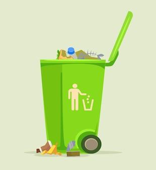 ゴミ箱は薄緑色で隔離されたゴミ箱をバスケットに入れる