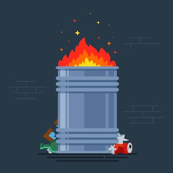Trash can burns. bonfire for poor people. burning a bunch of monsoon. flat vector illustration.