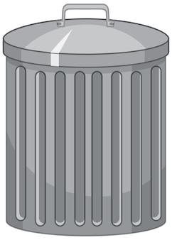 Pattumiera in stile cartone animato su sfondo bianco