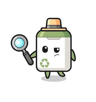 쓰레기통 탐정 캐릭터가 케이스, 티셔츠, 스티커, 로고 요소를 위한 귀여운 스타일 디자인을 분석하고 있습니다