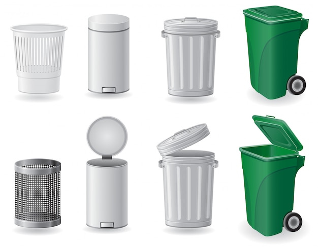 Trash can and dustbin set vector illustration