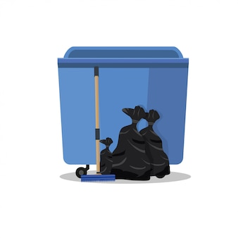 Trash can. flat design.  illustration of a trash on the street. cleaning and cleanliness in the house.