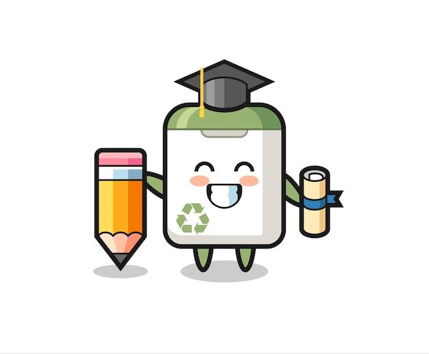 쓰레기통 그림 만화는 티셔츠, 스티커, 로고 요소를 위한 귀여운 스타일 디자인, 거대한 연필로 졸업하는 것입니다.