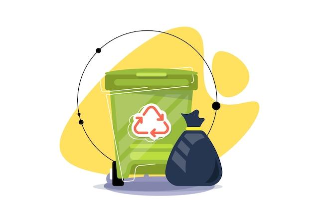 Иллюстрация мусорного ведра. переработка, раздельный сбор мусора и мусора. творческая иллюстрация.