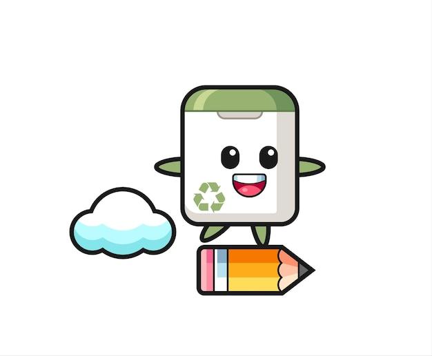 거대한 연필을 타고 있는 쓰레기통 마스코트 삽화, 티셔츠, 스티커, 로고 요소를 위한 귀여운 스타일 디자인