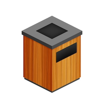 Trash can in park icon. waste bin isolated