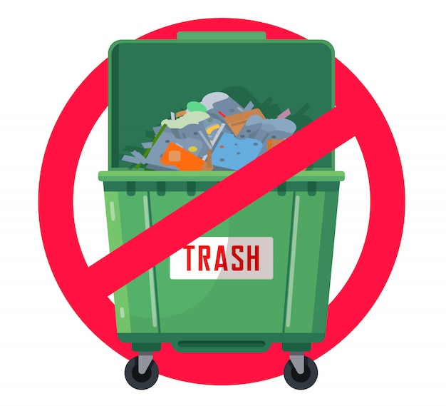 Trash can prohibited illustration