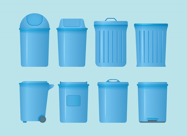 Trash can set collection with various shape and models with modern flat style and blue color