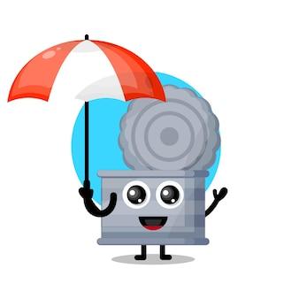 Trash can umbrella cute character mascot