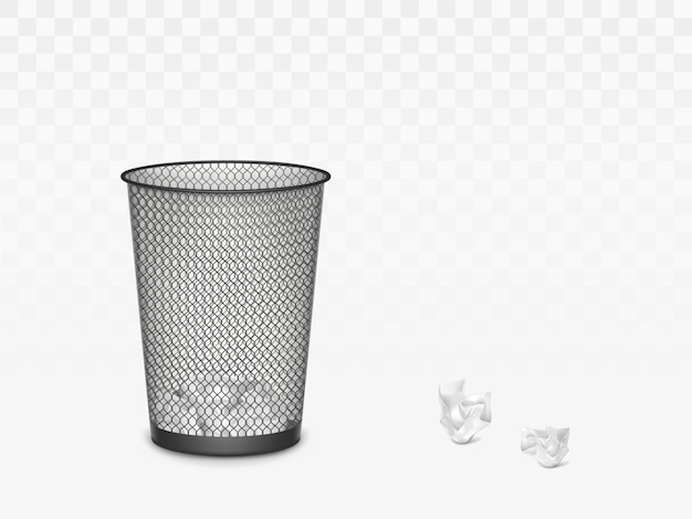 Trash can with crumpled paper inside and around. office, home litter bin for thrown sheets, wastepaper garbage basket isolate. 3d realistic vector illustration, clip art