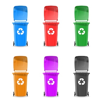 Trash cans are colorful