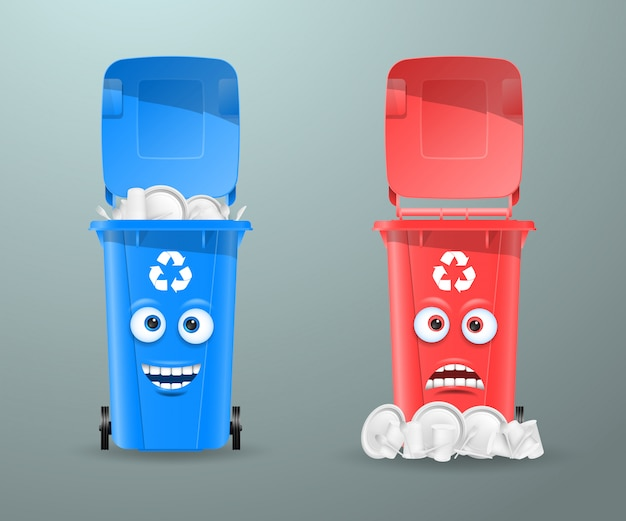 Trash cans in the form of funny characters.