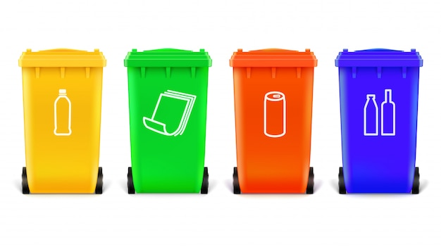 Trash cans with icons for sort of products