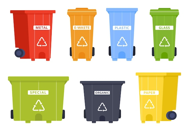 휴지통 아이콘이 있는 휴지통 벡터 세트입니다. 금속, 전자 폐기물, 플라스틱 및 유리, 특수 및 유기, 종이 쓰레기를 위한 쓰레기통. 쓰레기 분류 및 환경 보호용 용기