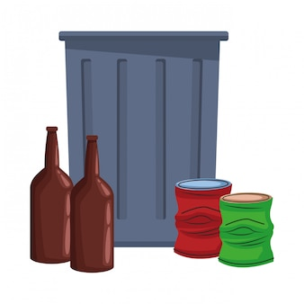 Trash garbage can icon cartoon