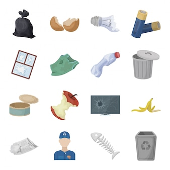 Trash and garbage  cartoon set icon. waste and rubbish isolated cartoon set icon. illustration trash and garbage  .