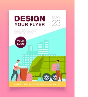 Trash pickup worker cleaning dustbin at truck flyer template