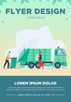 Trash pickup worker cleaning dustbin at truck. man carrying trash in plastic bag flat vector illustration. city service, waste disposal concept