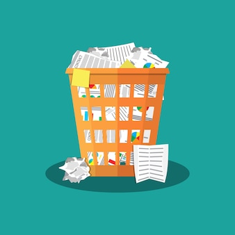 Trash recycle bin garbage flat illustration