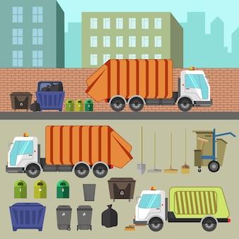 쓰레기 재활용 및 제거.