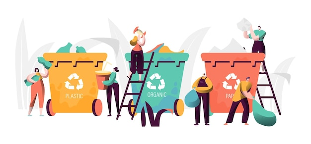 ゴミのリサイクル産業の概念。