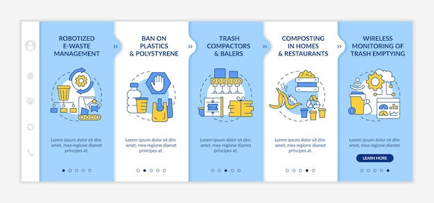 Инновации по переработке мусора на борту векторных шаблонов. адаптивный мобильный сайт с иконками. веб-страница прохождение 5 экранов шагов. цветовая концепция управления отходами с линейными иллюстрациями