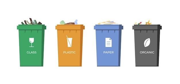 쓰레기 분류 용기. 재활용을 위해 다채로운 쓰레기통에 종이, 유리, 플라스틱 및 유기 쓰레기. 쓰레기 쓰레기통 고립 된 세트입니다. 폐기물 관리 활용 아이콘입니다. 환경 및 생태 eps 저장