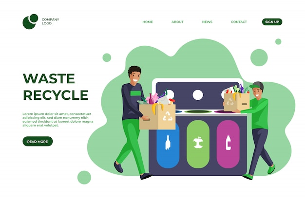 Trash sorting flat landing page template. waste management, garbage reducing, segregation and recycling one page website design. eco friendly, sustainable lifestyle homepage cartoon layout