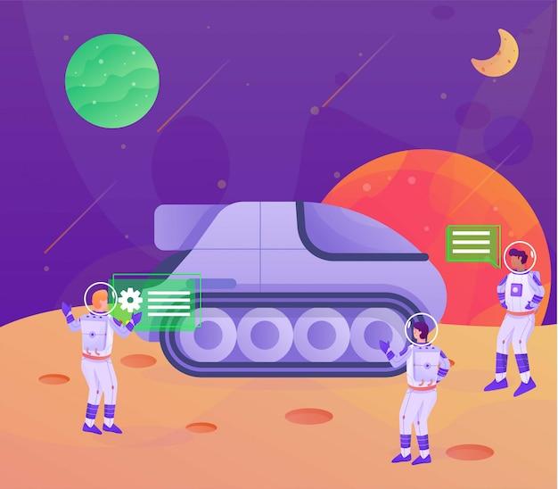 Trasportation on the moon astronaut illustration landing page