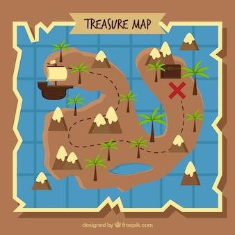 ヤシの木を使って地図の背景を味わう