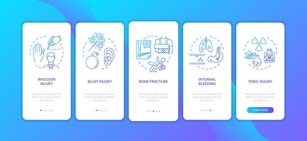 트라우마, 박리 및 폭발 온보딩 모바일 앱 페이지 화면에 개념이 있습니다. 골절 및 내부 출혈 연습 5단계 그래픽 지침. rgb 색상 삽화가 있는 ui 벡터 템플릿입니다.