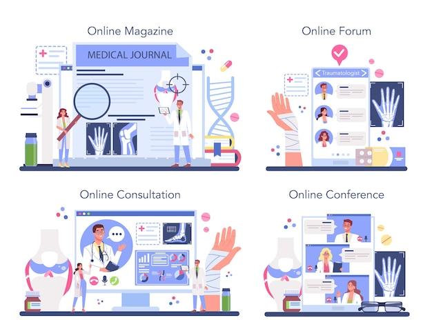 외상 전문의 온라인 서비스 또는 플랫폼 세트. 다친 사지, 골절 또는 염좌