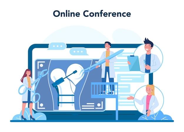 Traumatologist online service or platform. injured limb, broken bone or sprain. bondage and cast application. online conference. vector illustration