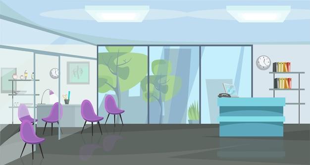 Иллюстрация квартиры кабинета травматологии, ортопедия, пустая панорама клиники травматологии, кабинет врача, диагностический центр без никого внутри, декор интерьера холла больницы.