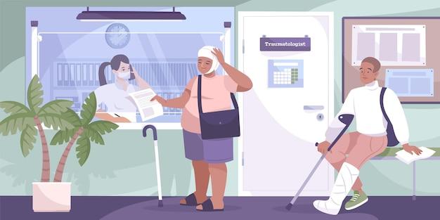 Состав травматологической клиники два человека с травмами стоят у стойки регистрации травматологического центра.