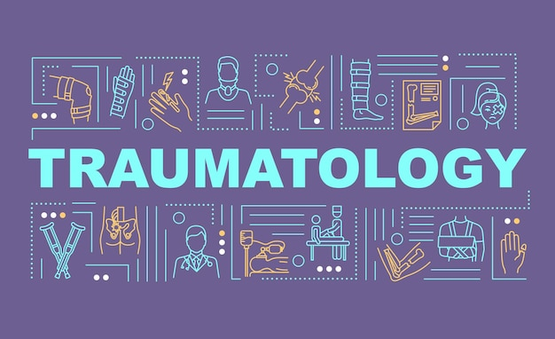 Traumatology, trauma treatment, clinical department word concepts banner. infographics with linear icons on purple background. isolated typography. vector outline rgb color illustration