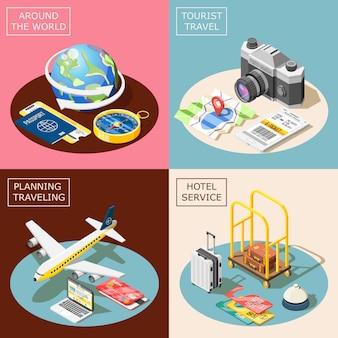 Travel 2x2 изометрические концепция дизайна