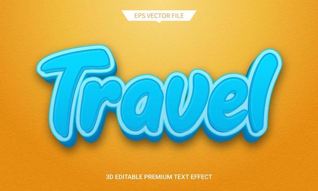 旅行3d編集可能なテキストスタイル効果プレミアムベクトル