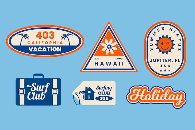 Travel 70s style sticker collection