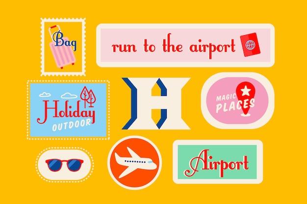 Travel 70s style sticker set