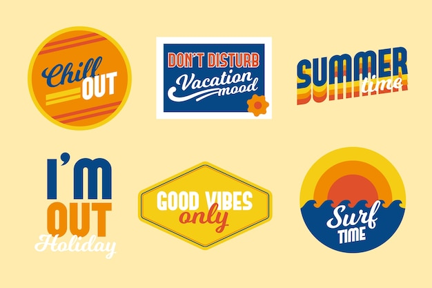 Travel 70s style sticker set